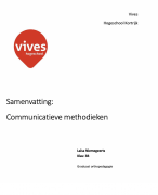 Samenvatting RICHTING: GRADUAAT ORTHOPEDAGOGIE: vak Communicatieve methodieken